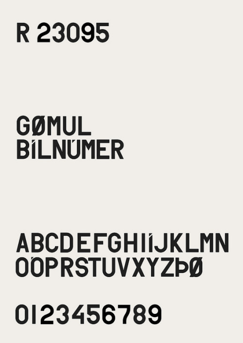 "R 23095 by Hrafn Gunnarsson    ""A typeface I'm currently working on based on old Icelandic car licence plates. Each letter represented a part, district or county of Iceland so you could recognize were people were from by looking at their plates. They were used from 1950 till 1989"""