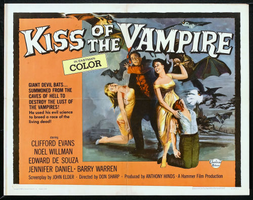 Half sheet for Kiss Of The Vampire (1963)