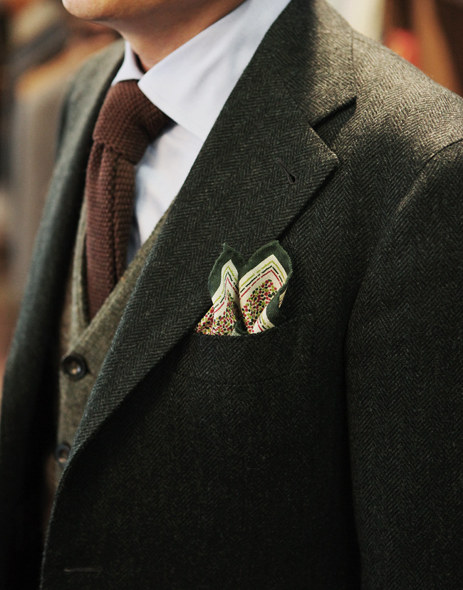 Khaki herringbone winter Jacket(loro piana) by B&Tailor