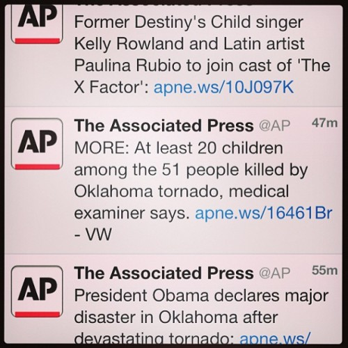Here are the last 3 tweets from the @AP… Can you guess which one seems a bit tone def right now? #SupportOklahoma