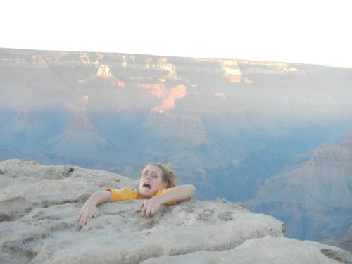 Girl went to Grand Canyon. Mother was worried so girl sent her this photo