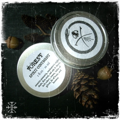 poisonersapothecary:  Forest Spirit Ointment is restocked at long last! A dark fairy ointment of toadstools, enchanter's nightshade, oak ash & thorn, fern seed, the herb of Robin Goodfellow, rowan berries, and other folkloric herbs of seeing and working with spirits. Many customers have had success using this ointment to the aid of searching for bones, plants for specimens or foraging, and seeing wild creatures and otherworldly spirits normally unseen.