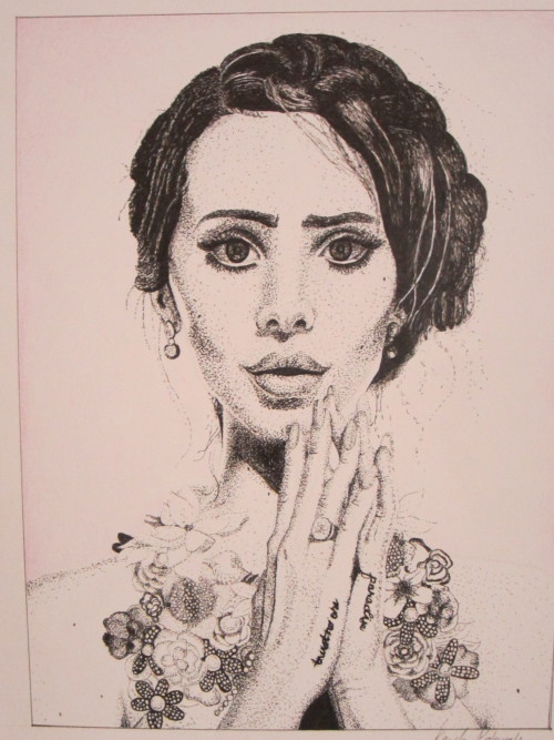 a stippled portrait of lana del rey  by kayla probeyahn
