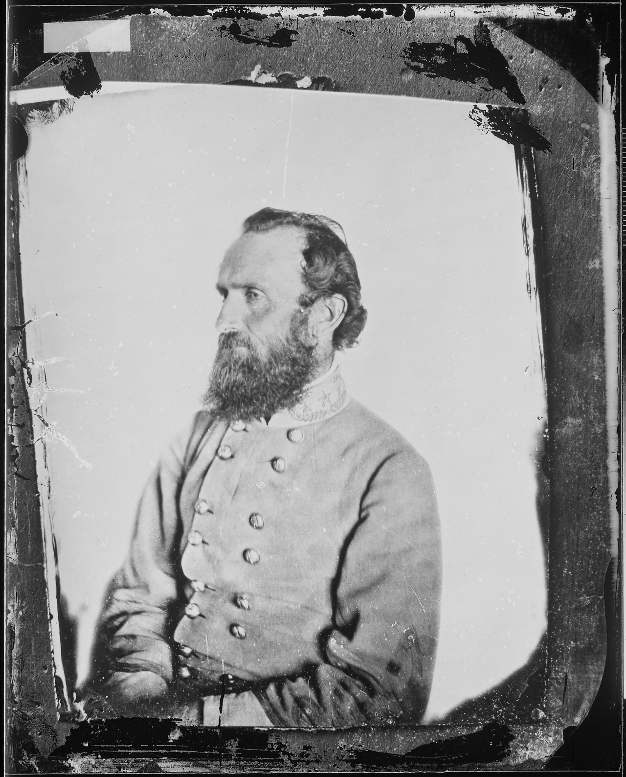 "Photograph of General Thomas J. ""Stonewall"" Jackson from Mathew Brady Photographs of Civil War-Era Personalities and Scenes  Accidentally shot by his own troops following the Battle of Chancellorsville, Confederate General Thomas ""Stonewall"" Jackson, Robert E. Lee's ""right arm"",  died of complications from his injury on May 10, 1863."