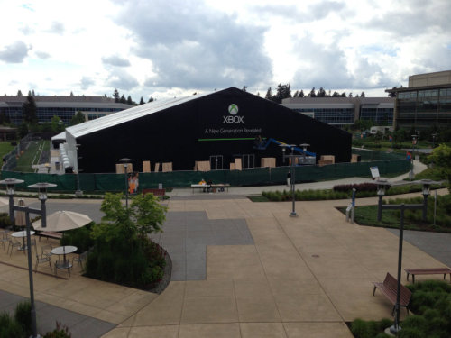 The Xbox reveal tent seems to be shaping up nicely for Tuesdays event