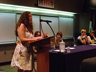 Kylie Kinley proves she's a convert to reading out loud at K-State's annual graduate-student Farewell Reading. Photo courtesy of Katherine Karlin
