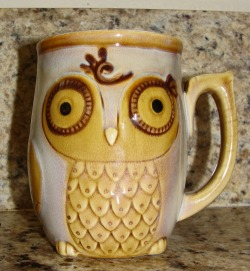 Owl mug. There are a series of these at Bed Bath and Beyond right now!
