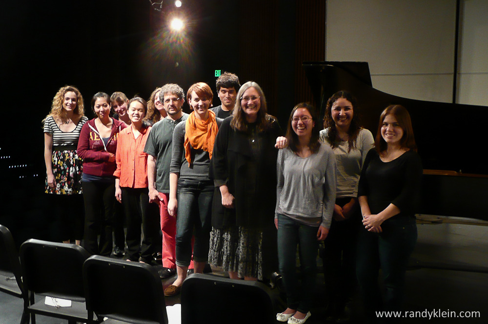 On March 22, 2013 I had the honor of conducting a two hour master class at San Diego State University School of Music and Dance's piano department. The class included four excellent pianists playing pieces from Mozart, Prokofiev, Schubert and Debussy. We found ourselves discussing the infinite sounds that the piano is capable of making and how it can vary depending on the composer and the pianist playing. The range of the selections allowed for a very in depth discussion. Great playing and everyone learning! Terrific experience! Congrats to all the very fine pianists!