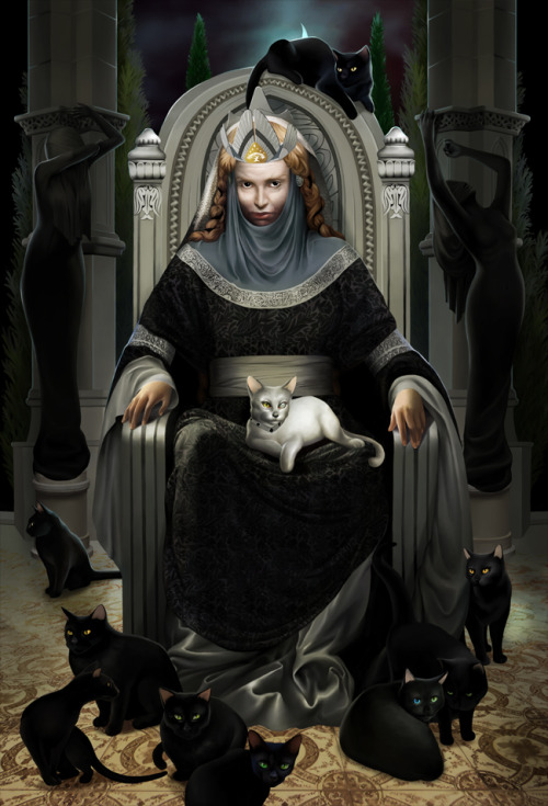 "stoneofthehapless:  The cats of Queen Beruthiel; art by steamey  [Gandalf] is surer of finding the way home in a blind night than the cats of Queen Berúthiel.  — J.R.R. Tolkien, The Fellowship of the Ring, ""A Journey in the Dark""  She was the nefarious, solitary, and loveless wife of Tarannon, twelfth King of Gondor (Third Age 830-913) and first of the ""Ship-kings"", who took the crown in the name of Falastur ""Lord of the Coasts,"" and was the first childless king (The Lord of the Rings, Appendix A, I, ii and iv). Berúthiel lived in the King's House in Osgiliath, hating the sounds and smells of the sea and the house that Tarannon built below Pelargir ""upon arches whose feet stood deep in the wide waters of Ethir Anduin;"" she hated all making, all colours and elaborate adornment, wearing only black and silver and living in bare chambers, and the gardens of the house in Osgiliath were filled with tormented sculptures beneath cypresses and yews. She had nine black cats and one white, her slaves, with whom she conversed, or read their memories, setting them to discover all the dark secrets of Gondor, so that she knew those things ""that men wish most to keep hidden,"" setting the white cat to spy upon the black, and tormenting them. No man in Gondor dared touch them; all were afraid of them, and cursed when they saw them pass. …her name was erased from the Book of the Kings (""but the memory of men is not wholly shut in books, and the cats of Queen Berúthiel never passed wholly out of men's speech""), and…King Tarannon had her set on a ship alone with her cats and set adrift on the sea before a north wind. The ship was last seen flying past Umbar under a sickle moon, with a cat at the masthead and another as a figure-head on the prow.    — J.R.R. Tolkien, Unfinished Tales, ""The Istari"""