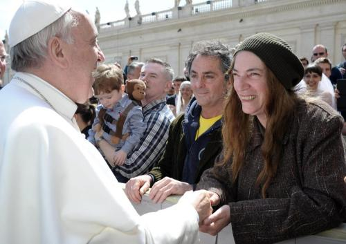 Pope Francis meets Patti Smith.