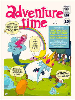 "adventuretime:  I missed this cool AT poster, Finntastic Four, from Mondo. Sold out at $40, too bad. Poster by JJ Harrison. 18""x24"" screen print. Hand numbered. Edition of 225. Printed by D&L Screenprinting.  -Fred"