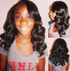 My client Laura — partial weave, side part. Velvet Remy hair, 2 packs (12/14in)  #hairstylist #sewin #weave #prom #prom hair #remy hair