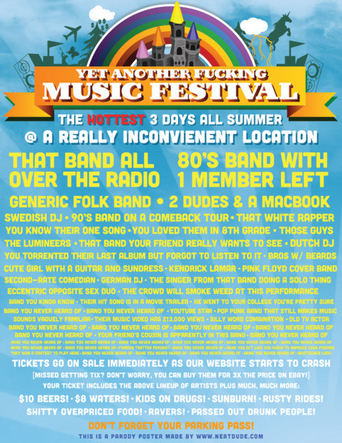 laughingsquid:  Poster for Yet Another F*cking Music Festival