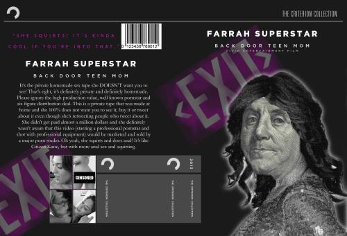 'Farrah Superstar: Backdoor Teen Mom' Criterion Collection Teen Mom's Farrah Abraham just released her sex tape. Here's the Criterion Collection cover.