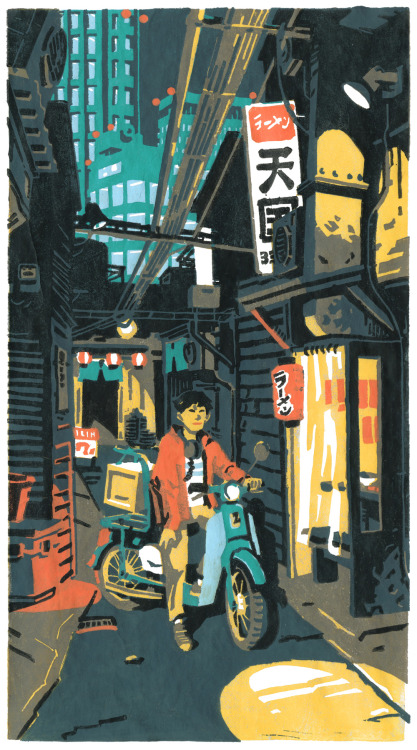 atelier-sento:  Ramen Delivery Boy7 layers linocut - handprinted Finished!It took so much time from the original sketch to the final print… The most difficult was to coordinate the different layers during the printing, especially on the character's face: the shape of his head is on the grey layer, his mouth on the red layer, his nose on the brown layer and his eyes/hair on the black layer, each one being carved on a different plate. So the smallest gap could ruin everything. We have filmed the process and should be able to post a video tutorial soon. Stay tuned!  Whoa! This is by Cécile Brun & Olivier Pichard.