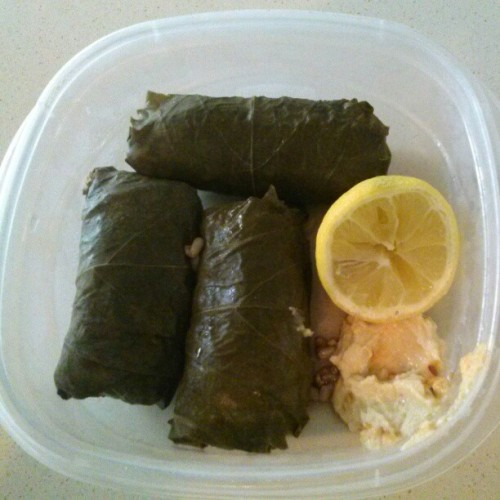 Finally got around to making the dolmas I've been fantasizing about.. just in time to run out of hummus. Bah. Still worth it.