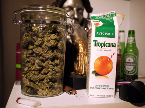 Orange juice and weed.