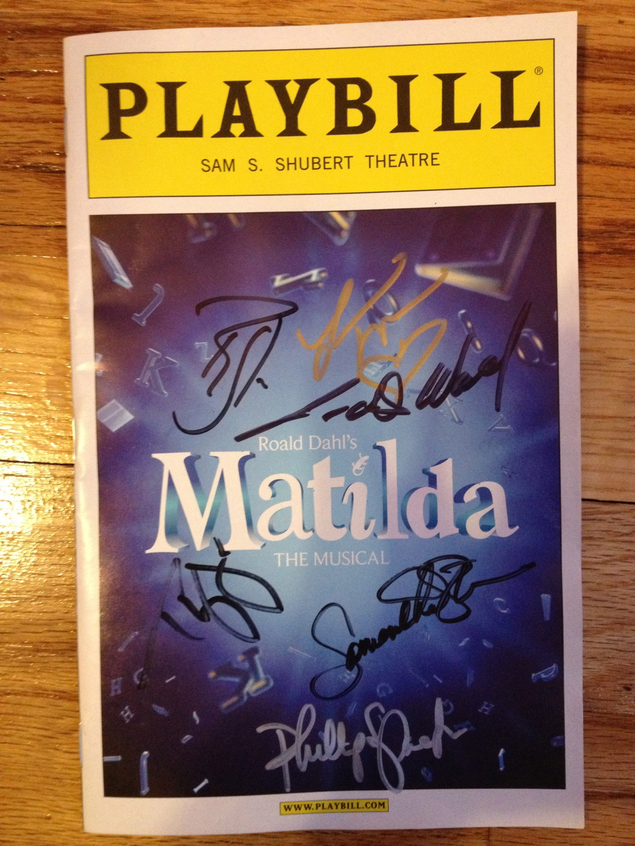 "So I saw Matilda the Musical last night and it was unbelievable!!!! I'd say a definite Tony-winner for this season!! I've been listening to the London Cast Recording on repeat for the past 3 months so yesterday could not come fast enough.  Our seats were in the front row of the mezzanine which were awesome and the set was outstanding. I'm calling it already as a Tony-winner for set design. It looked like a Scrabble board exploded! All the actors were fantastic, and I wasn't expecting anything less from a cast that included Bertie Carvel, Lauren Ward (both from the original London production), Taylor Trensch, Ryan Steele, Thayne Jasperson, etc. Oona Laurence went on last night as Matilda and she was absolutely perfect. She was so adorable and had an incredible little voice. The rest of the children in the cast were very talented as well, especially with choreography that I would say almost matches that of Newsies. My favorite numbers were ""Miracle,"" ""The Smell of Rebellion,"" and ""Revolting Children."" But really, who am I kidding? The entire show was amazing and I will definitely be back to see it again.  Not many people came out of the stage door afterwards. Probably because it was the first night after opening and it was raining so they wanted to get home. I also know that the children do not come out of the stage door. I did manage to catch Lesli Margherita (Mrs. Wormwood), Lauren Ward (Miss Honey), Samantha Sturm (The Acrobat), Phillip Spaeth (Rudolpho), Ryan Steele, and Thayne Jasperson (the last two of whom I'd been waiting to see since I'm obsessed with Newsies and have seen each of them in it 3 times).  Needless to say, I'll be seeing Matilda at least 3 more times. I'm hoping to catch a performance of each of the Matildas."
