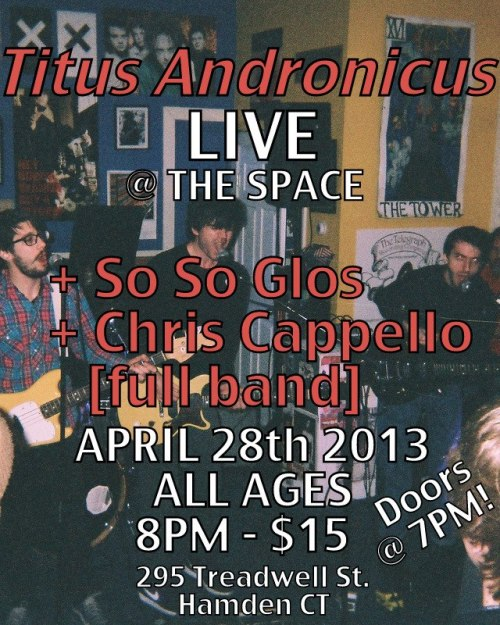 Tonight in Hamden at The Space. Titus returns to CT with The So So Glos (they're the people who run Shea Stadium in NYC… icons!) and Chris Cappello's full band. Watch Sweet Baby Chris's dreams come true live on stage. Tickets are still available but going fast. See you there. https://www.facebook.com/events/141319089379559/