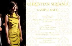 Christian Siriano (@CSiriano) Sample Sale, May 19: 11am-5pm See Flyer for Details.
