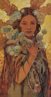 "fetishofsilence:  Alphonse Mucha ~ ""Native American Woman with Flowers and Feathers"""