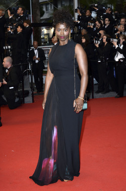 French actress Aïssa Maiga on the red carpet at the Cannes Film Festival grand opening yesterday.