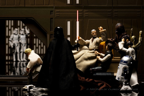 "4/12 | The Death of Obi-Wan Kenobi on Flickr. The fourth photograph in the series is entitled ""The Death of Obi-Wan Kenobi"" and is based upon Jacques-Louis David's The Death of Socrates. David focuses on the story of Socrates death. As the history books tell it, Socrates is given the option of death or exile, he chooses death… Like most Renaissance paintings, The Death of Socrates is open to interpretation. After looking for countless hours for a painting or photograph that depicted a one on one fight, I could not find one that I thought would have translated well to the duel between Darth Vader and Obi-Wan Kenobi. Instead, I have taken a little creative license to show this critical moment of A New Hope. Although this is not true visual recreation of the infamous lightsaber duel, it does contain all of the same meaning. Kenobi replaces Socrates in the centre of the scene at the moment before his death. He is surrounded by the usual suspects so to speak; Han, Leia, Artoo, Threepio and Chewbacca. Similarly, Socrates is surrounded by many of his followers. Luke, Kenobi's last pupil, takes the place of Socrates' most well known student; Plato, and sits in shock, perhaps questioning his master's choice of death. Finally; Vader holds his lightsaber in place of the deadly hemlock, both items chosen by the soon to be dead.  Enjoy!  Subscribe via RSS 