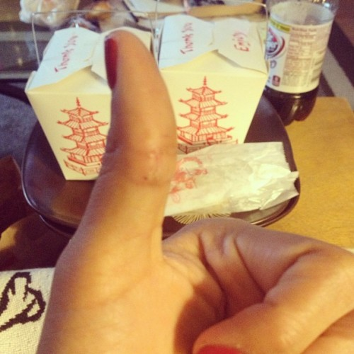 thumbs up to no more stitches, chinese take out on cinco de mayo and A NEW JOB!!!