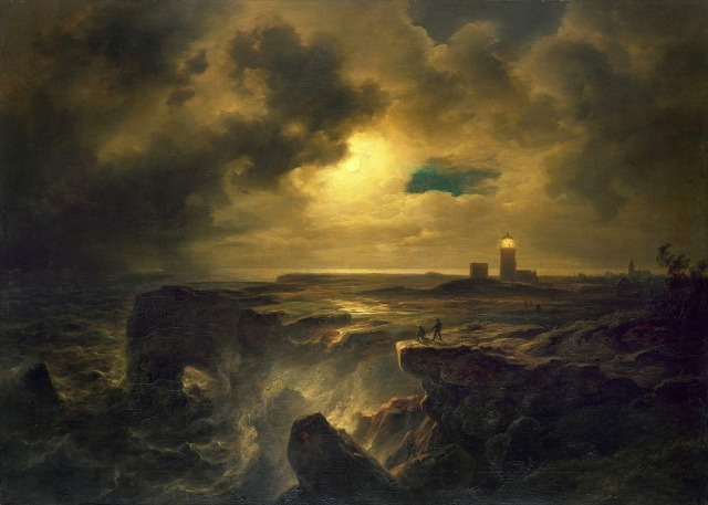 Christian Morgenstern (1805–1867), Helgoland in Moonlight (1851) #lighthouse#art#painting#oil painting#oil#history#helgoland#germany#north sea#sky#clouds#moon#sea#ocean #lighthouses in art #nature#water#europe#landscape