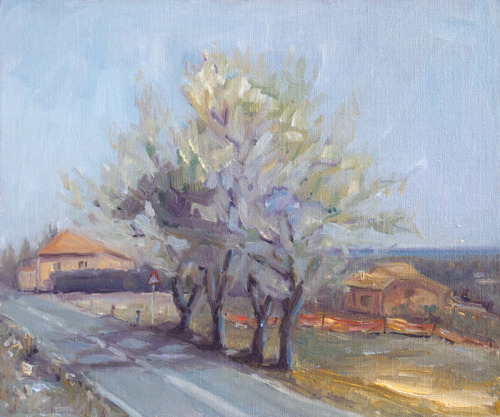 Via Marano, Coriano, Italy, oil on linen over panel, 12 by 10 inches, 2011 $1,200 plus to-be-determined domestic UPS ground shipping and handling. Click Shipping Details for UPS shipping. Transactions accepted via PayPal, please contact the artist.