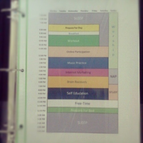 I've managed to create my daily schedule for the next month lol   #Excel