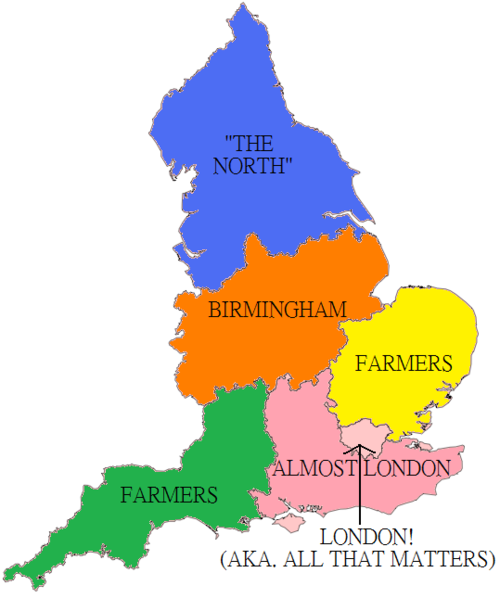 thelandofmaps:  England as seen by Londoners. [500x598]CLICK HERE FOR MORE MAPS!thelandofmaps.tumblr.com
