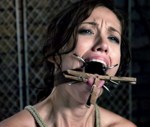 bondageblowjobs:  More rigorous mouth and tongue training. Perhaps just showing this image to your slave will convince her to keep her mouth open and her tongue extended!