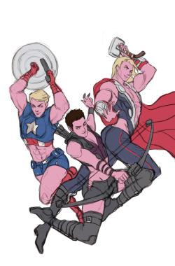 hot Captain America Thor Marvel avengers Hawkeye au WIP Thing Escher the hawkeye initiative