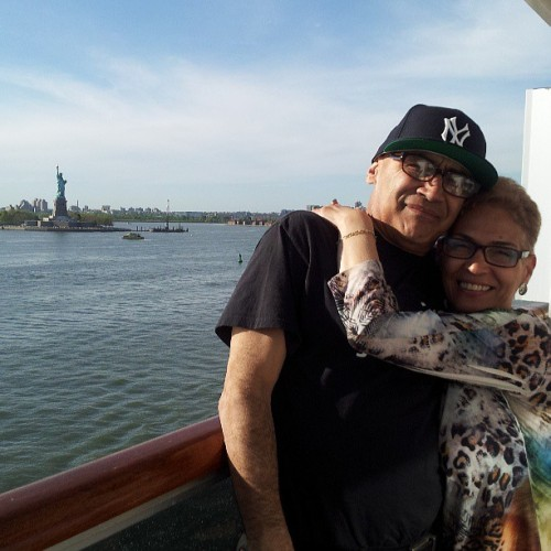 My old people,  lol.  #mom #dad #statue of liberty #cruise (at Carnival Splendor)
