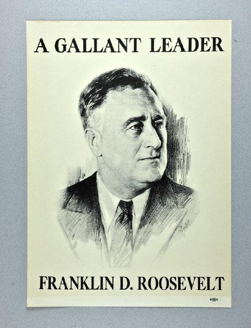 Roosevelt was born Jan. 30, 1882. pastperfect-online:  Happy belated birthday, FDR! Yesterday marked the 32nd President's 131st birthday. The four-term P.O.T.U.S. is best known for his New Deal plan during the Great Depression and his leadership during World War II. Despite losing the use of his legs at age 39 after a battle with Polio, Roosevelt is remembered for his sense of humor and optimism.   This Roosevelt campaign poster from 1936 can be found in the online collection of the Kentucky Historical Society. [info]