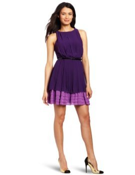 Jessica Simpson Women's Colorblock Pleated Dress Price:$128.00 & eligible for FREE Super Saver Shipping. Details Size: Sizing info Color: Acai polyester Dry Clean Only Sleeveless Boat neck Back button A dainty belt offers definition to Jessica Simpson's Colorblock Pleated dress with double tonal layers in accordion pleats and horizontal ruffles.