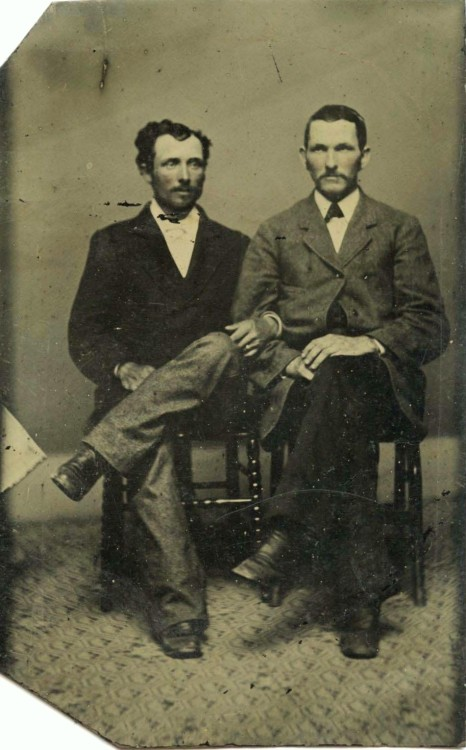 ca. 1860-70's, [hand tinted tintype portrait of two gentlemen linking arms] via Ebay