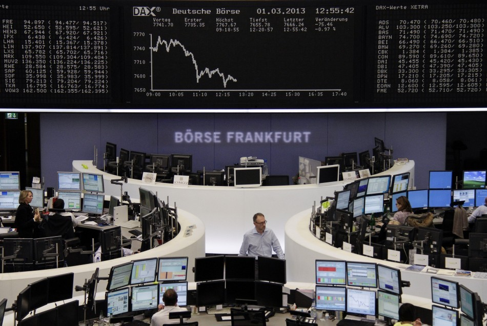 European Market Briefing: Shares Edge Lower on Global Growth Concerns  http://www.ibtimes.co.uk/articles/441854/20130304/hsbc-fls-bank-england-sequester-italy.htm
