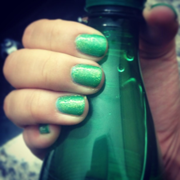 #emerald is the color of #2013 new #nails 💚 🎍💅 and sparkling water all day.
