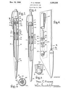 "explore-blog:  Patent drawing for the Fisher Anti-Gravity Pen, a.k.a. the NASA ""space pen"" that popular legend says the Russians outsmarted with a mere pencil."