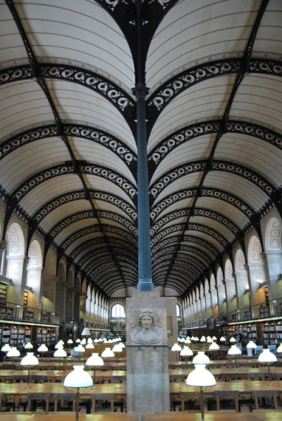 bookmania:  Bibliothèque Saint Geneviève, Paris. A public and university library in Paris, Sainte-Geneviève Library is designed by Henri Labrouste. It is in Neo-Renaissance style and was built between 1843 and 1851. (Photo by Edward Klister)