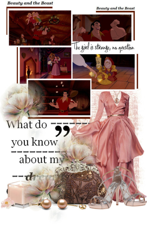 Scenes from Beauty and The Beast by queenrachietemplateaddict featuring white pearl earringsBadgley Mischka high heels / Irene Neuwirth rosette necklace / White pearl earrings