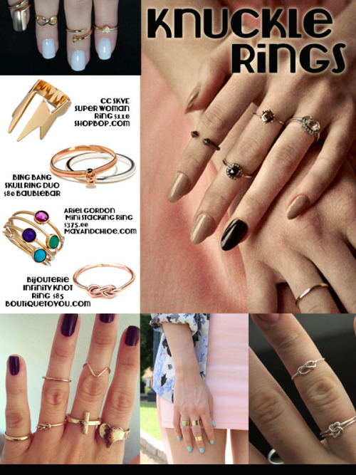 DIY Inspiration: Knuckle Rings from Rocks Paper Metal here. I've mentioned in past posts that I follow Rocks Paper Metal for jewelry inspiration on Tumblr here (look at their archive). To make your own cheap and easy wire and bead knuckle rings go here: truebluemeandyou.tumblr.com/tagged/ear-cuff