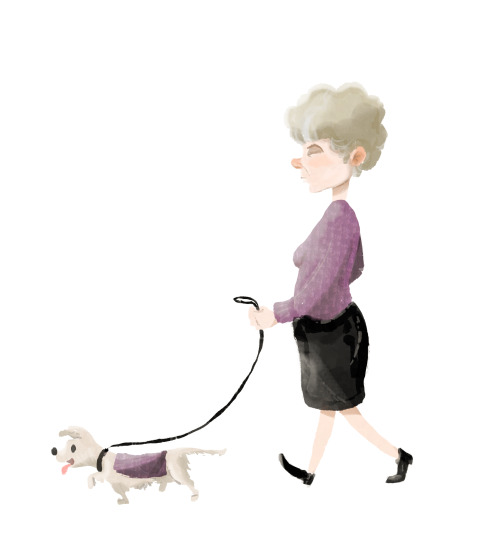 I saw this lady walking her dog with a matching purple top the other day while biking home.