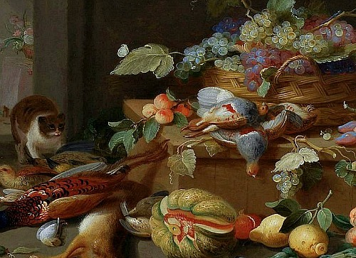 Jan van Kessel the Elder Still Life with Game, Basket of Grapes and Cat, detail 17th century