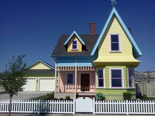 Did You Know: Carl and Ellie's house from the movie 'Up' is now an actual home ready to be moved into. The house was built by Bangerter Homes in the city of Herriman, Utah. The cost of the home is $390,000. Throughout the home you will find that it is true to the movie; it even has the same mailbox. The basement does feature a home theater and two bedrooms. The basement bedrooms are decorated in Disney Princess and 'Toy Story' motifs.
