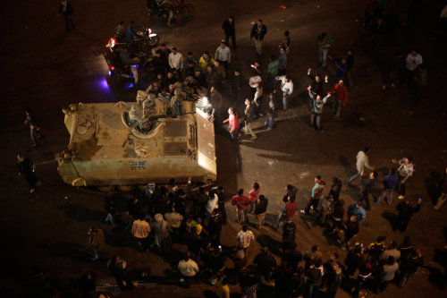 January 2011 - Egyptian protesters cheer members of the military as they arrive in Cairo after a day of unrest. (Photo by Ed Ou/Reportage by Getty Images) Two years ago, the Egyptian Revolution began; it would eventually end Hosni Mubarak's almost 30 years in power.  Take a look back at more of Ed's photos from Egypt in 2011 here.