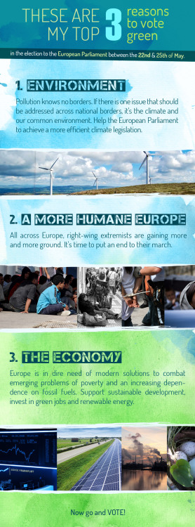 malmerik:  The elections to the European parliament will take place between the 22nd and the 25th of May. It is crucial that as many as possible all across Europe participate in the elections. Although these are my personal reasons why I vote green, the image is a collaborative work between people from different countries that want to raise awareness on the elections and want to work towards a more sustainable and humane Europe.  Bra!