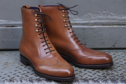 Carmina for Epaulet Greeley Boot in Saddle Shell Cordovan